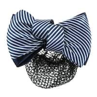 Unique Bargains Unique Bargains Woman White Blue 2 Tiers Striped Bow Decor Hair Clip w Hairnet Snood