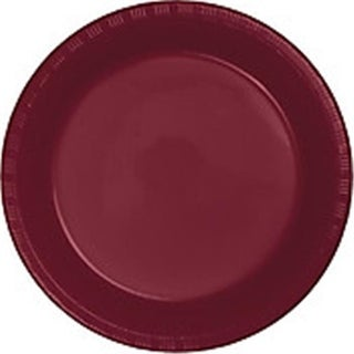 10 in. Heavy Duty Disposable Plastic Party Plates, Burgundy -