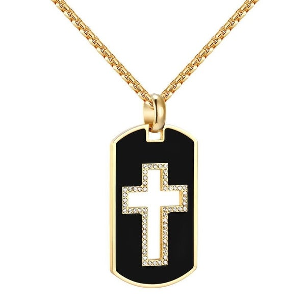 Stainless Steel Dog Tag Open Cross Pendant Black Gold Tone Steel Box Necklace