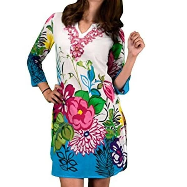 1a4593ce95c65 Shop 100% Cotton Bohemian Floral Summer Tunics Beach Cover Ups ...