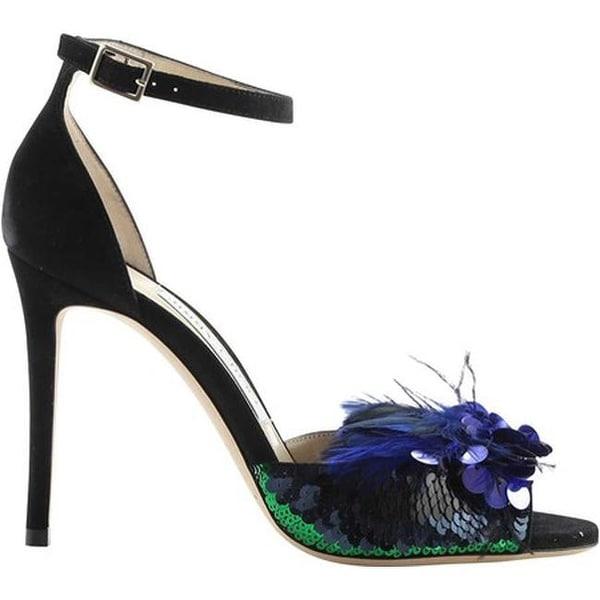 d05d88e9a0ad Jimmy Choo Women  x27 s Annie 100 Sequin Feather High-Heel Sandal Black