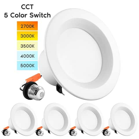 """Luxrite 4"""" LED Recessed Can Lights, Color Selectable 2700K 3000K 3500K 4000K 5000K, Dimmable, 750 Lumens, 4-Pack"""