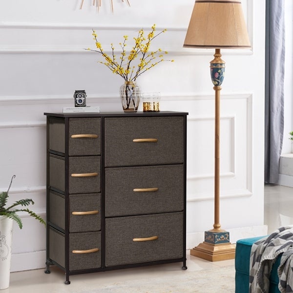 7 Drawer Vertical Chest Dresser Storage Cabinet with Wood Handles