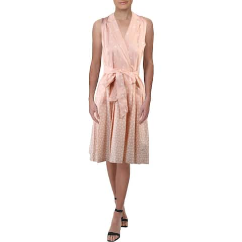 ANNE KLEIN Pink Sleeveless Knee Length Dress 14