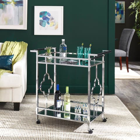 Rosewood Chrome Floral Bar Cart with Mirror Bottom and Glass Top by iNSPIRE Q Bold