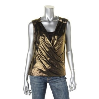 Kenneth Cole New York Womens Alyce Metallic Drapey Tank Top - XS