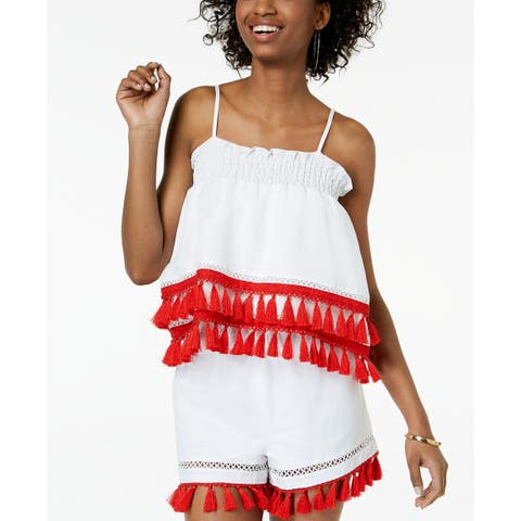 XOXO Women's White Red Size Medium M Tassle Hem Smocked Tank Cami Top
