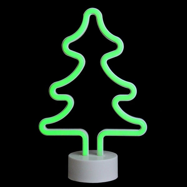 11 Battery Operated Neon Style Led Green Christmas Tree Table Light