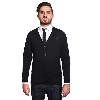 Versace Men's Medusa Head Cardigan Sweater Black