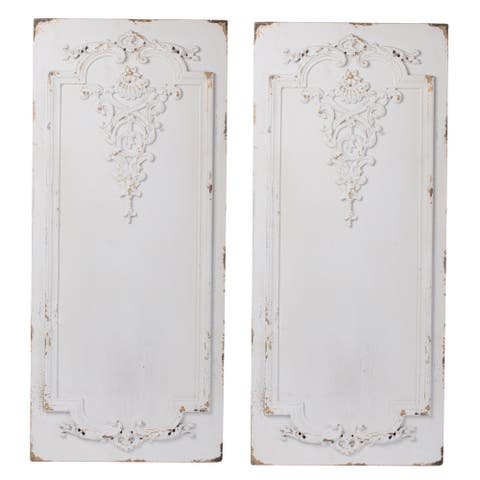 A&B Home Prasoon Weathered Textured White Wall Panels (Set of 2)