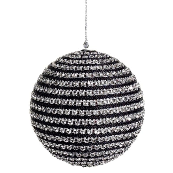 """5"""" Contemporary Striped Black and Silver Sequined Christmas Ball Ornament"""