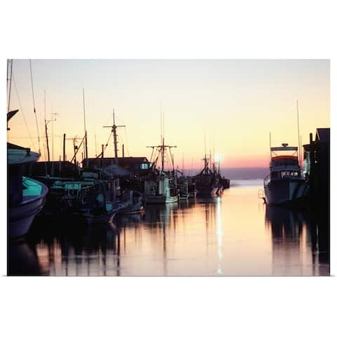 """Harbour at sunset, Louisiana"" Poster Print"