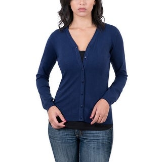 Real Cashmere Navy Blue V-Neck Cardigan Womens Sweater (Option: Xxl)