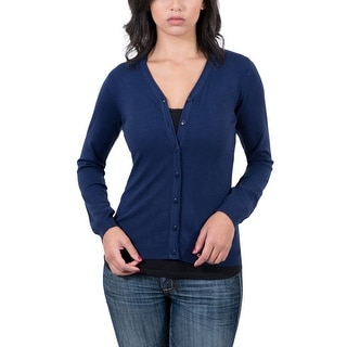 Real Cashmere Navy Blue V-Neck Cardigan Womens Sweater