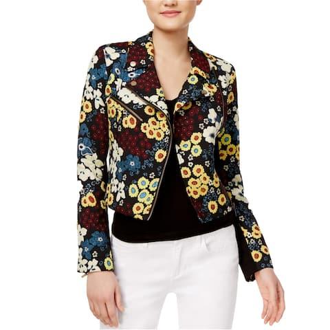 Rachel Roy Womens Textured Full-Zip Motorcycle Jacket, Black, Small