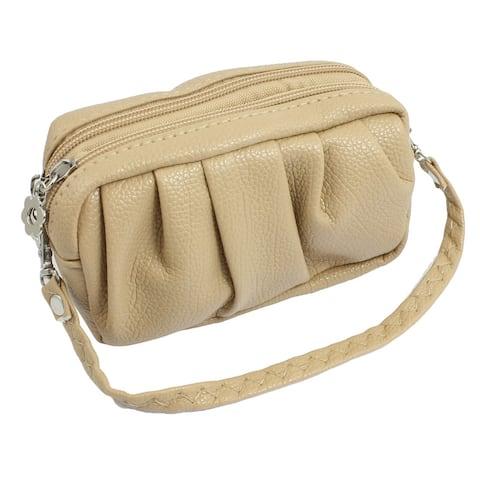 Women Lobster Clasp Strap Khaki Ruched Faux Leather Mini Handbag Purse - Beige