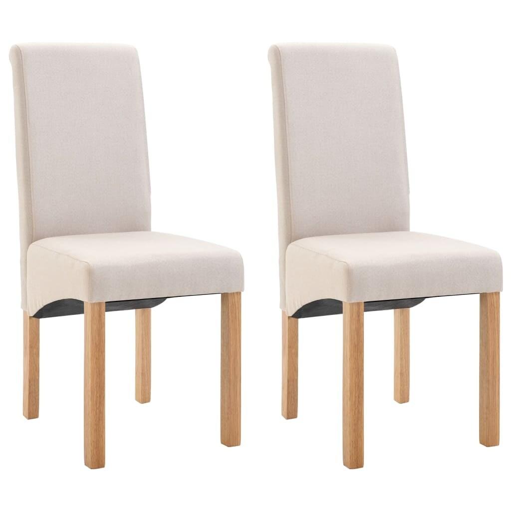 vidaXL Dining Chairs 2 pcs Cream Fabric