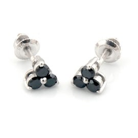 Attractive 0.33 Carat Round Brillaint Cut Genuine Black Diamond Trilogy Stud Earring With Screw Back