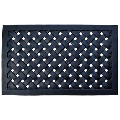 Black Rubber Outdoor Braided Door Mat - 47 x 18