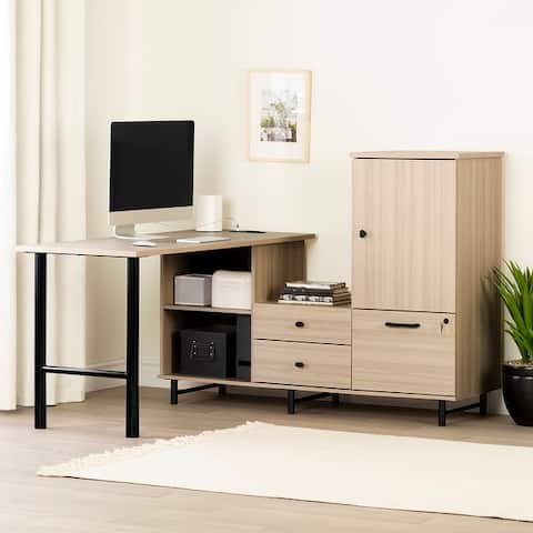 South Shore Zelia L-Shaped Desk with Built In Power Bar