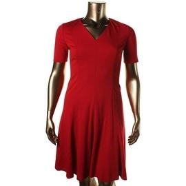 T Tahari Womens Valencia V-Neck Short Sleeveless Wear to Work Dress - 8