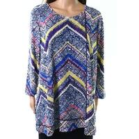 Multiples Blue White Womens Size XL Popover Abstract Tunic Blouse
