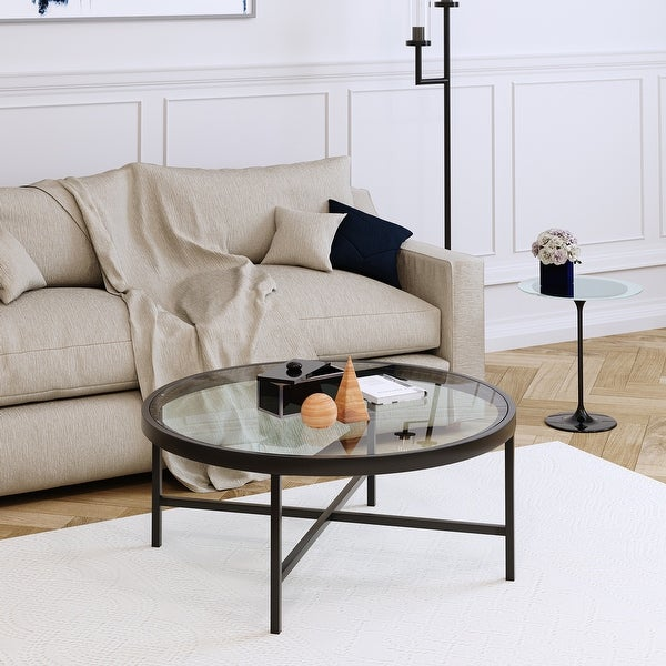 Sivil Contemporary Metal/Glass Coffee Table in Blackened Bronze. Opens flyout.