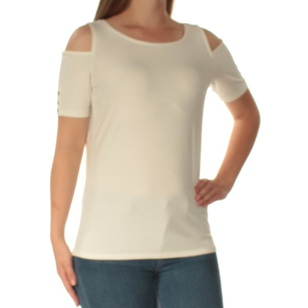 a832d0b553d1d Shop TOMMY HILFIGER Womens Ivory Cold Shoulder Short Sleeve Boat Neck Top  Size  M - Free Shipping On Orders Over  45 - Overstock - 24050777