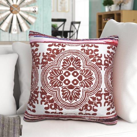 Boho Bordered Tessera Mosaic Textile Throw Pillow