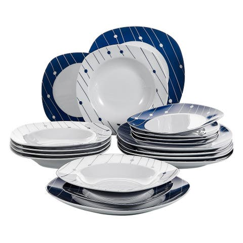 VEWEET 'Hannah' Polka Dot Patterns Porcelain Dinnerware Set
