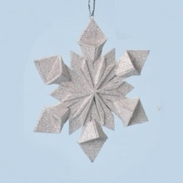 """4"""" Holy Night Origami Style Starburst Glittered Snowflake Christmas Ornament - silver"""