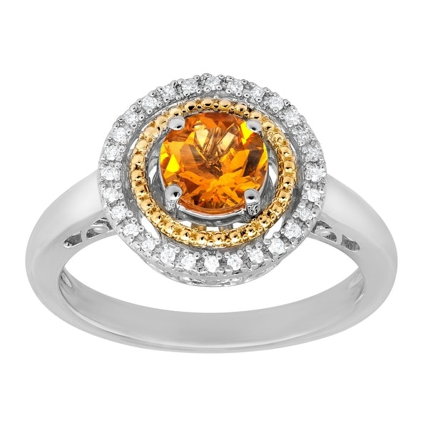 3/4 ct Citrine Ring with Diamonds in Sterling Silver and 14K Gold