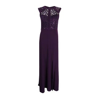Nightway Women's Banded Lace Cap-Sleeve Slit Gown