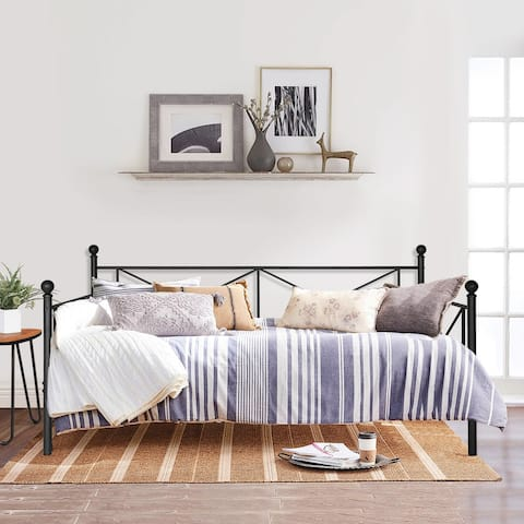 VECELO Black Metal Daybed Cross Wrought Iron Daybed Twin Size