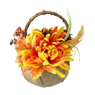"9.5"" Autumn Harvest Floral in Burlap Pumpkin Basket Decoration - N/A"