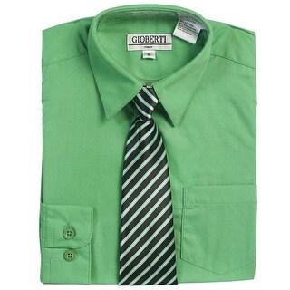 Green Button Up Dress Shirt Black Striped Tie Set Toddler Boys 2T-4T