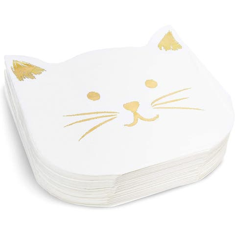 Kitty Cat Party Napkins, Gold Foil (6.5 x 6.5 In, 50 Pack)