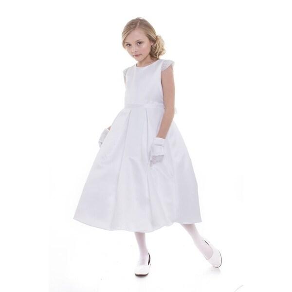 344f3b27e Shop Little Girls White Dull Satin Beaded Flower Girl Dress - Free Shipping  Today - Overstock - 18172724