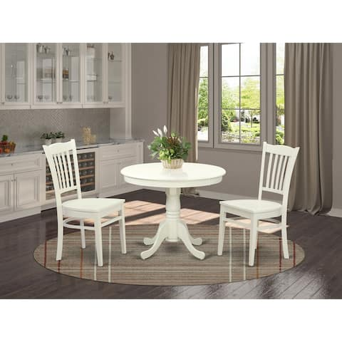 Dining Table set with a Pedestal Table and Wood Dinette Chairs - Linen White Finish (Pieces OPtion)