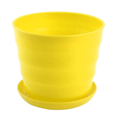 Home Plastic Cylinder Plant Aloes Cactus Flower Planting Pot Flowerpot Yellow