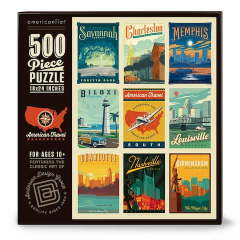 Americanflat 500 Piece Jigsaw Puzzle, 18x24 Inches, American Travel South Art by Anderson Design Group - 18 x 24