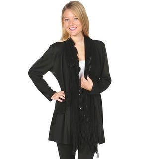 Women's Cardigan Jacket With Attached Scarf - Sweater Tunic Top