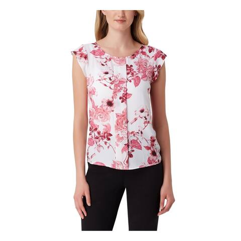 TAHARI Womens Pink Floral V Neck Top Size S