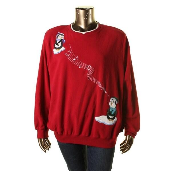 Alfred Dunner Womens Plus Sweatshirt Fleece Graphic