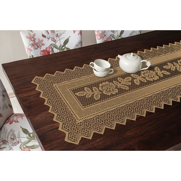 Table Runner Grega Design Brazilian Lace 19x62 Inches Ocher (Light Brown) Color 100 Percent Polyester