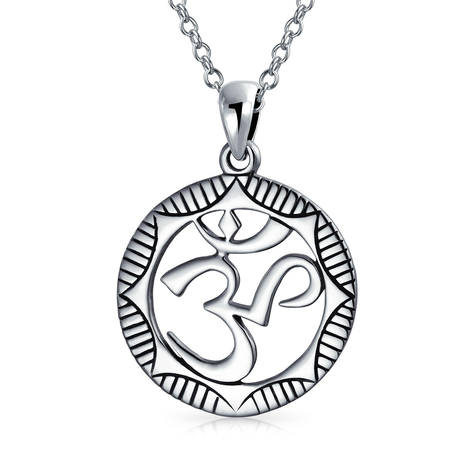 Round Circle Sanskrit Symbol Yoga Medallion Aum Om Ohm Pendant Necklace For Women Oxidized 925 Sterling Silver