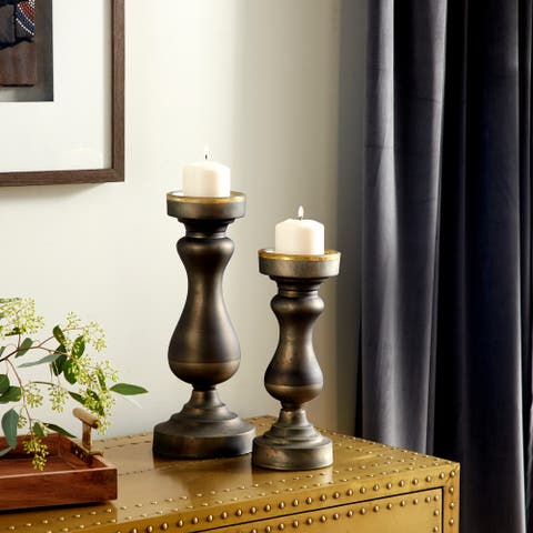 "Modern Rounded Tempered Glass Candleholders with Oil Rubbed Bronze Finish, Set of 2, 16""x7"", 13""x5"" - 7 x 7 x 16"