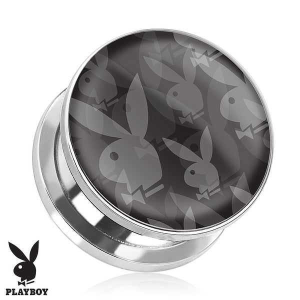 Repeated Playboy Bunny Logo Print Screw Fit Plug 316L Surgical Steel (Sold Individually)
