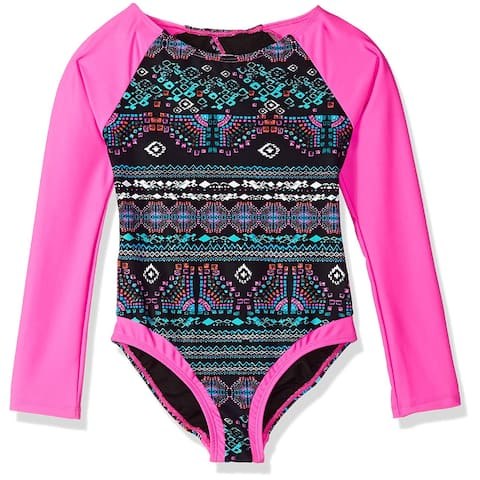 Jessica Simpson Girl's Swimsuit Black Size 7 Open-Back Printed One Piece