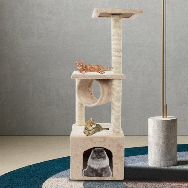 """36"""" Solid Cute Sisal Rope Plush Cat Climb Tree Cat Tower Beige. Opens flyout."""